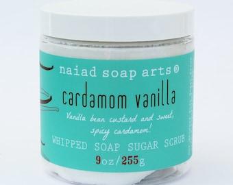 Cardamom Vanilla Whipped Soap Sugar Scrub - cruelty free and vegan