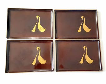 Vintage Tip Trays Brown Gold Otagiri Lacquerware Trays Snack   Set of 4, Fall Tableware, Swan Motif, Mother with Baby Bird