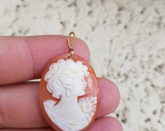Old  Cameo cabochon with gold bale,  womens hair is up, Great for altered art, jewelry making Etc.