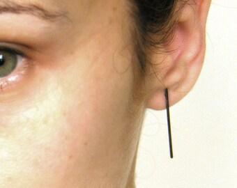 Silver line earrings, Long bar earrings, minimalist line earrings, line studs, sticks earrings, hammered bar earrings.
