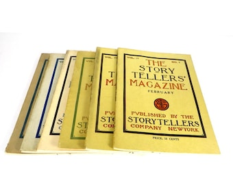 Antique Story Tellers Magazines 6 Children's Story Books Faily Tales Folk Tales Early 1900's Children's Books