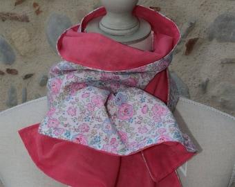 Scarf scarf/shawl liberty Bliss pink / blue 34 x 135 cm