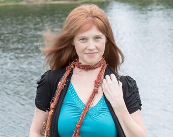 Orange Scarf, Skinny Scarves, Gift for Her, Women's Scarves, Fringe Scarf, Bohemian Scarf, Boho Scarf, Scarves for Women. Scarf, Fringe