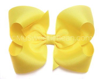 Big Yellow Hair Bow,  Extra Large Bow for Girls, Teens, 6 inch Boutique Bow for Toddlers, Yellow 6 inch Bow for Women, Giant Texas Hair Bow