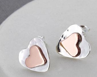 Birthday Gift Heart Stud Earrings - heart earrings - gift for mum - gift for girlfriend - gold heart earrings  - heart studs - silver studs