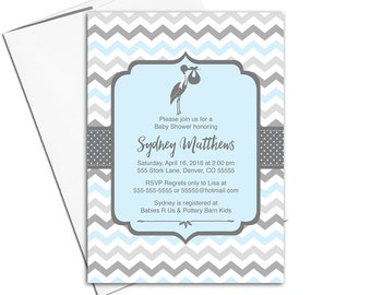 Stork baby shower invitations for boys in blue and gray | unique baby shower invites | printable or printed - WLP00857
