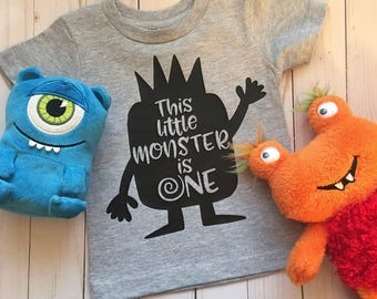 This Little Monster is One (or Two) - First birthday shirt - Other colors available, including pink) - Birthday photos