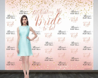 Bridal Shower Photo Backdrop, Printed Custom Wedding Party Backdrop, Wedding Backdrop, Rose Gold Sparkle Photo Booth Backdrop, Bride to Be