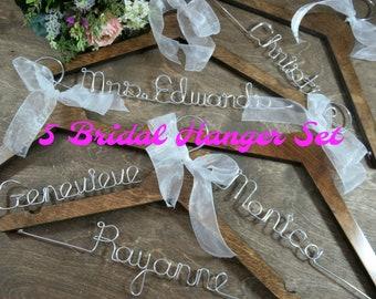 Bridal Party Hangers - Bridesmaid Proposal - Name Coathangers - Dress Hanger Bridesmaid - Set of 5 - Wedding Keepsake - Bridal Party Gifts