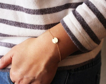 Gold Initial Bracelet / Dainty Initial Bracelet / Bridesmaids Bracelet / Initial Letter Bracelet