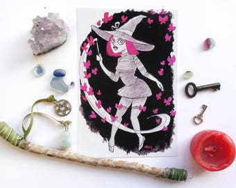 Handpainted Pink Magic Witch 6x4 Art Print