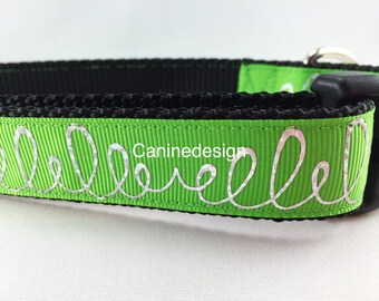 Dog Collar, Green Loops, 1 inch wide, adjustable, quick release, metal buckle, chain, martingale, hybrid, nylon