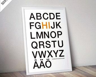 Poster Scandinavian Alphabet - 50 X 70 cm - print
