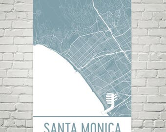 Santa Monica Map, Santa Monica Art, Santa Monica Print, Santa Monica CA Poster, Santa Monica Wall Art, Gift, Map of California, Poster