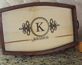 Personalized Wine Barrel Stave Serving Tray- Housewarming Gift, Wedding Gift, Anniversary Gift