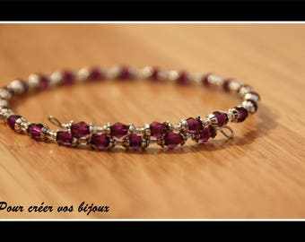 Purple bicone bracelet 55mm memory