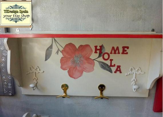 Percha de pared, Percha de madera, Percha pared blanca y roja, Percha pared con estante, Percha pared estilo vintage, Percha pared 71 cm