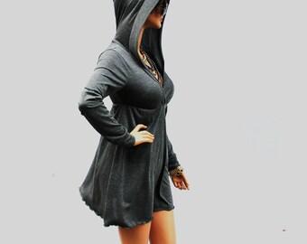 Dress / Grey Dress / Hoodie Dress / Grey Hoodie Dress / Grey Hooded Dress / Oversized Hoodie / Party Dress / Grey Dress