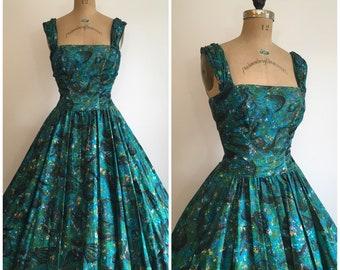 Vintage 1950s Seahorse Novelty Print Dress 50s Beach Shells Sundress