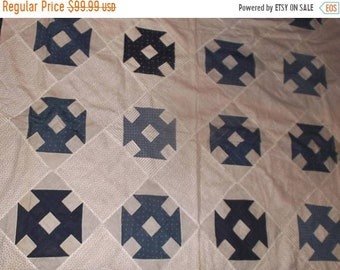 SALE SALE~Antique 19c Monkey Wrench quilt top Indigo &  blue  Excellent condition Ready for quilting~