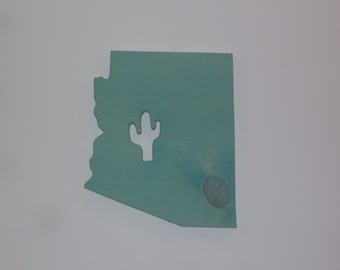 Handmade Wooden Arizona Sign with Saguaro Cactus