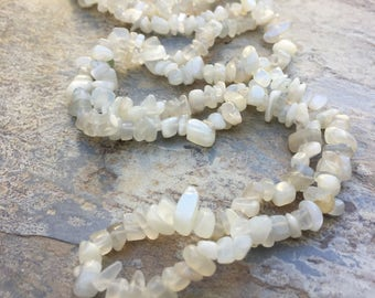 Moonstone Chips, Moonstone Pebbles, Small Moonstone Nuggets, 5 to 8mm, 34 inch strand