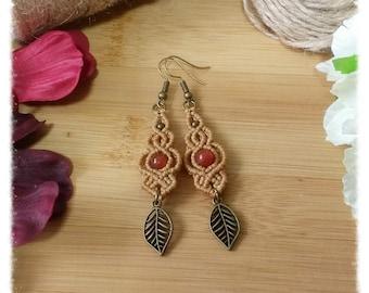 Macrame earrings with carnelian-macrame earrings with Carnelian AUTUMN