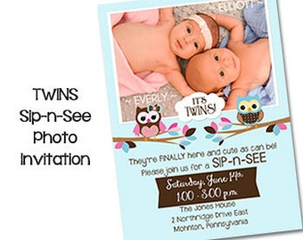 "Cute Owl TWINS SIP-n-See Invitation Baby Shower Invitations Sip and See Invite Owl Baby Invitations 5"" X 7"" Digital File"