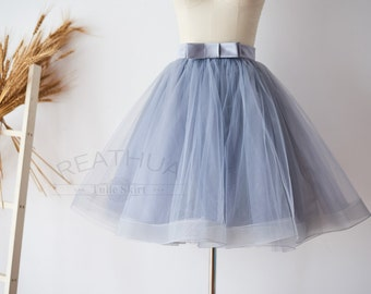 Dusty Gray Horsehair Short Woman TUTU Tulle Skirt /Wedding Bridal Bridesmaid Skirt/Wedding Dress Underskirt Petticoat with Bow