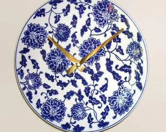 Navy Blue Floral Wall Clock 8-1/4 inches - Silent Porcelain Plate Wall Clock - Kitchen Clock - Unique Wall Clock - 2501
