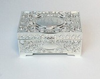 Personalized Jewelry Box, Engraved Silver Jewelry Box