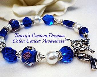 Beautiful COLON CANCER AWARENESS Bracelet - Custom made for you.