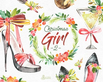 Christmas Girl 2. Watercolor holiday clipart, lady, vintage, florals, wreath, shoes, party, sexy, accessories, xmas, merry, holly, greeting