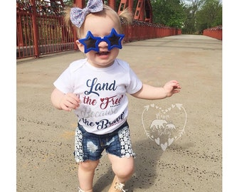 Baby Girl's 4th Of July Onesie, Fourth Of July Onesie, Land Of The Free, Because Of The Brave, 4th Of July Outfit, Toddler 4th Of July Shirt