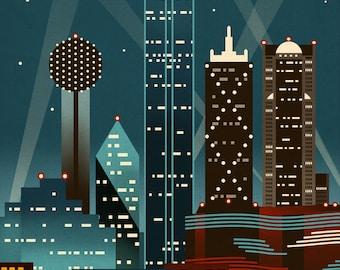 Dallas, Texas - Retro Skyline - Lantern Press Artwork (Art Print - Multiple Sizes Available)