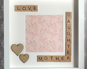 mother and daughter photo gift - scrabble art frame - gift for mum mother mothers day birthday everyday present! christmas gift