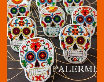 Mexican Skulls Cupcake Toppers, Day of the Dead Skulls Cupcake Toppers