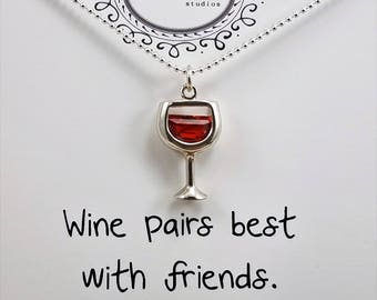 Wine Glass - Cubic Zirconia Colored Crystal Charm Necklace; Sterling Silver