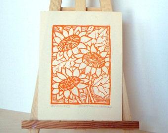 Sonnenblumen-Druck - 4x5.5. Ungefärbt. Orange. Linoleum Drucke Wand Kunst Blumen Kunst Hand Linoldruck Flower Print Block Drucke handgefertigt