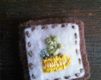 Succulents in Yellow Mug (Patch, Pin, Brooch, or Magnet)