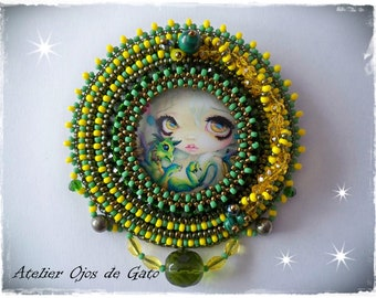 Brooch Green Breeze-Bead Embroidery