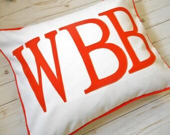 Monogram Pillow Sham,  Fits Standard Pillow, Bed Pillow case, Monogrammed decorative pillowcase,, Initials, Appliqued Letters, pillow covers