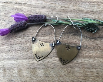 Brass and silver hand stamped shield earrings