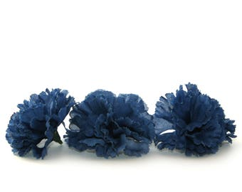 3 Bargain Navy Blue Carnations - Artificial Flowers