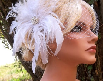 Wedding Feather Headpiece,  Feather Fascinator, Wedding Fascinayor, Bridal Veil, Wedding Veils, Bridal Hair Accessories, Headpieces,  Veils
