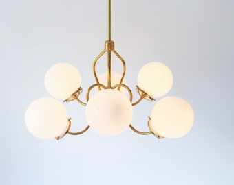 Brass Chandelier Lighting Fixture, Brass Pendant Lamp, 6 White Glass Globes on Fluted Arms, BootsNGus Modern Lighting and Home Decor