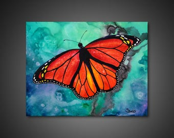 Butterfly wall art - abstract canvas art, butterfly painting, wall art painting, giclee CANVAS PRINT, wall art decor, nature wall art,
