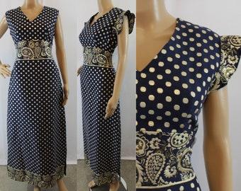 60s vintage navy blue and metallic gold lurex polka dot and paisley sleeveless maxi hostess dress size medium