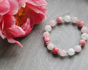 Rose Quartz Bracelet Pink Red Jadeite Matte Ice Quartz Natural Stone 925 Silver stretch Women Bracelet Bridal gift Wedding gift
