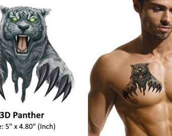 3D Panther - Temporary Tattoo
